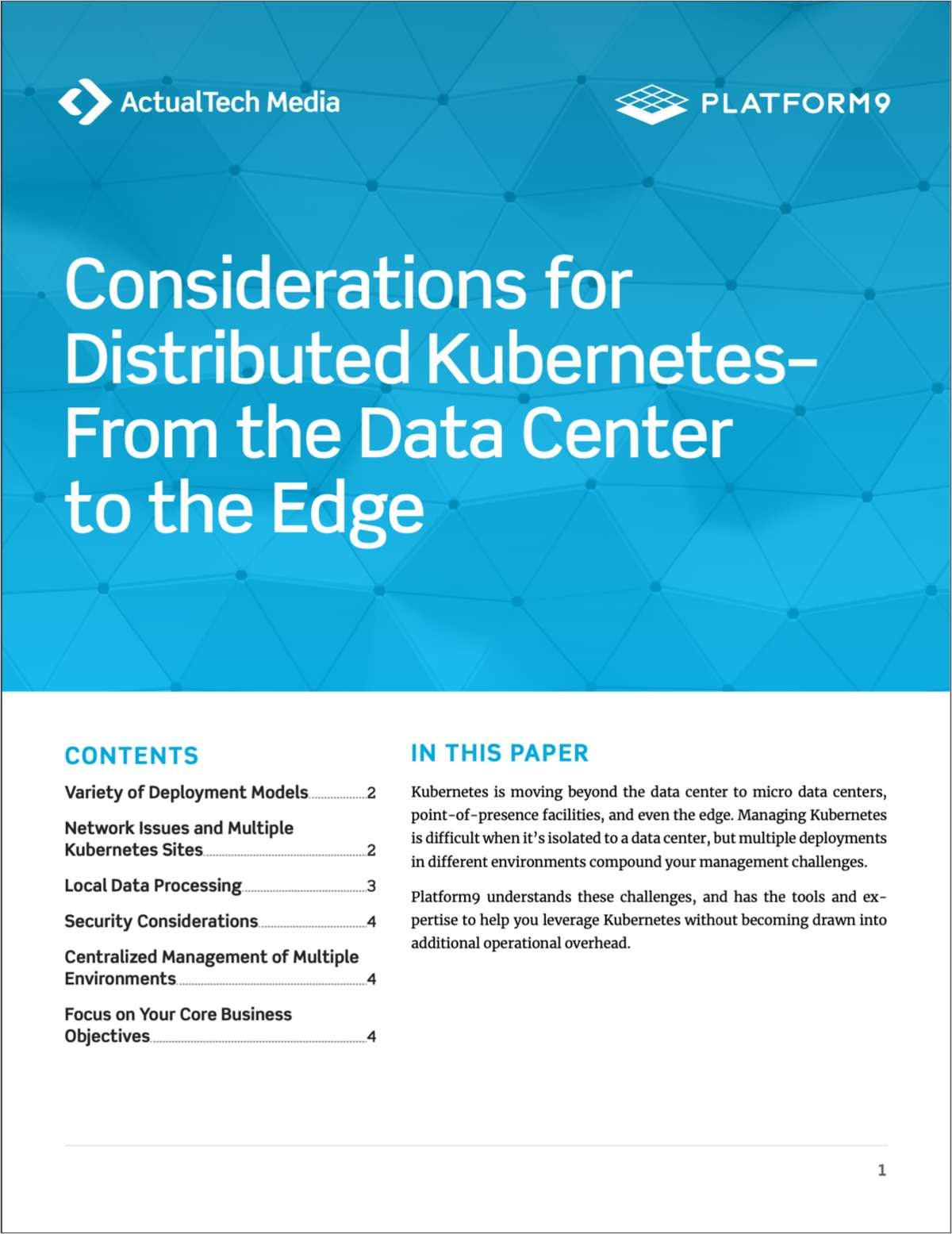 Considerations for  Distributed Kubernetes--  From the Data Center  to the Edge