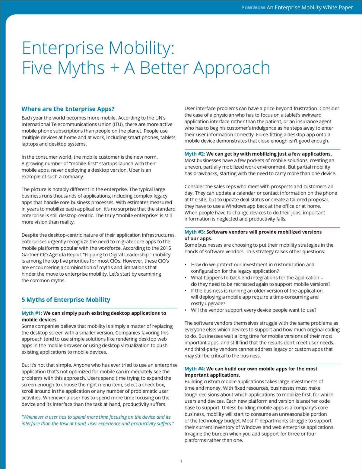 New Whitepaper: Enterprise Mobility, Five Myths + A Better Approach