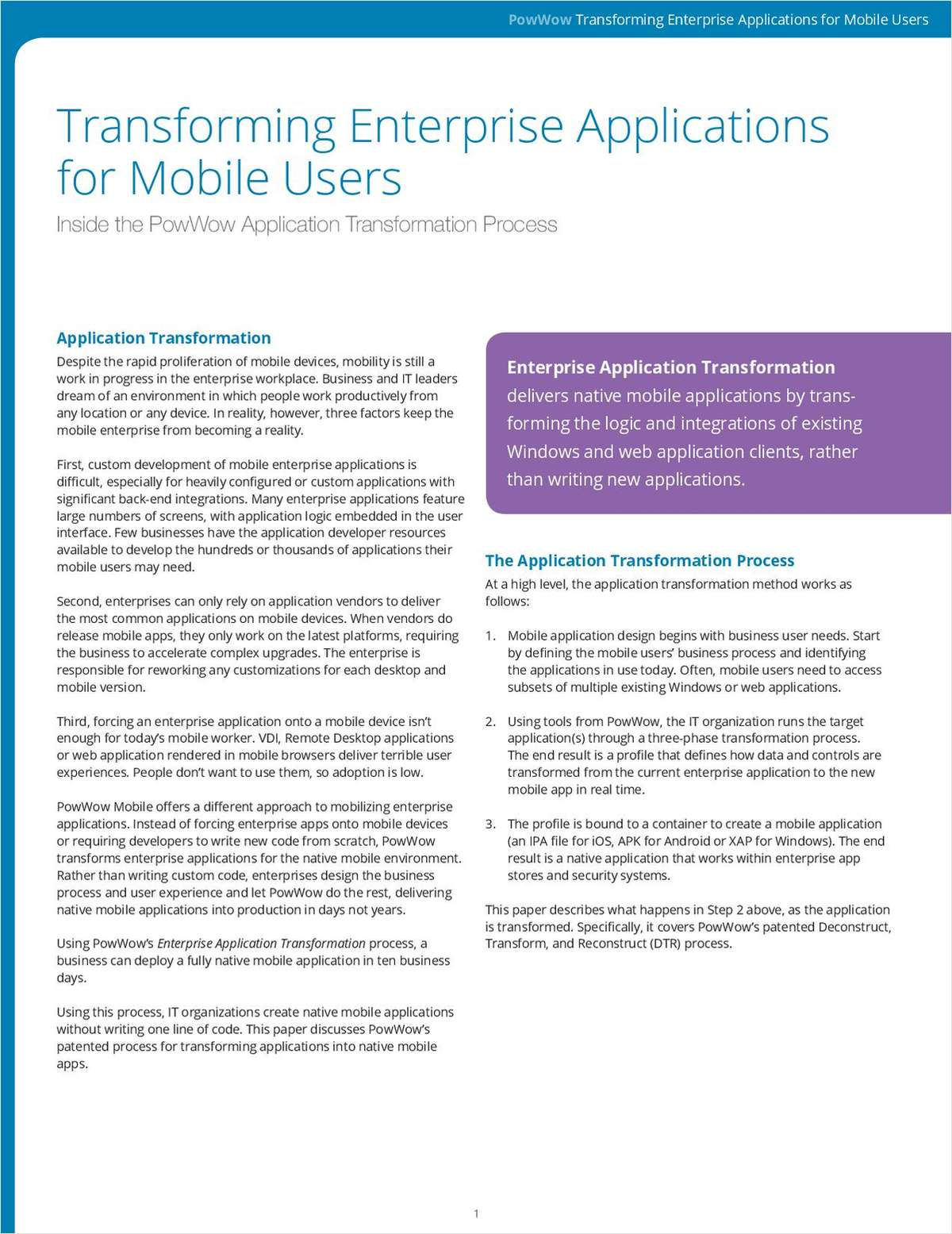 New Whitepaper: Transforming Enterprise Applications for Mobile Users