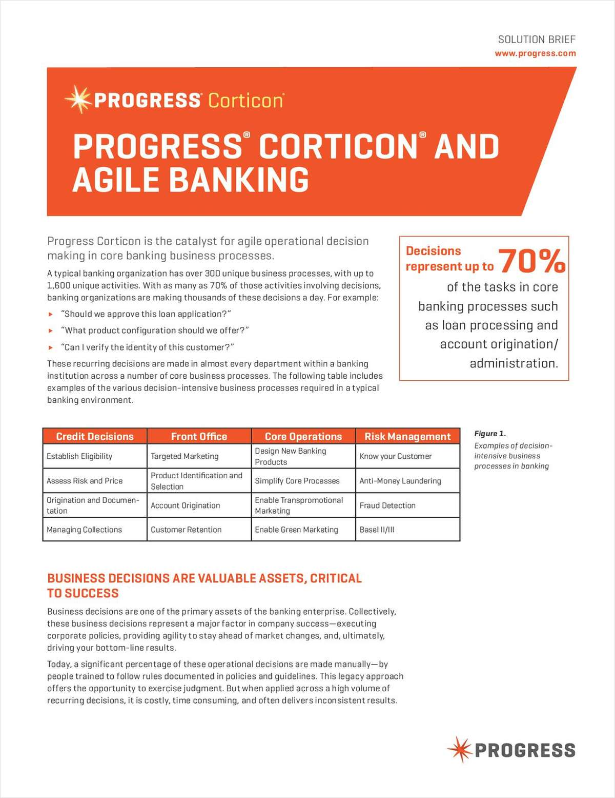 Agile Operational Decision Making in Core Banking Business Processes