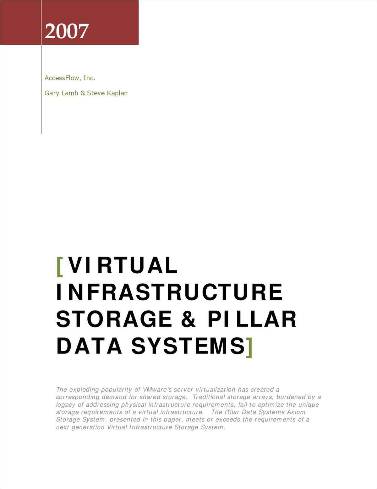 Virtual Infrastructure Storage
