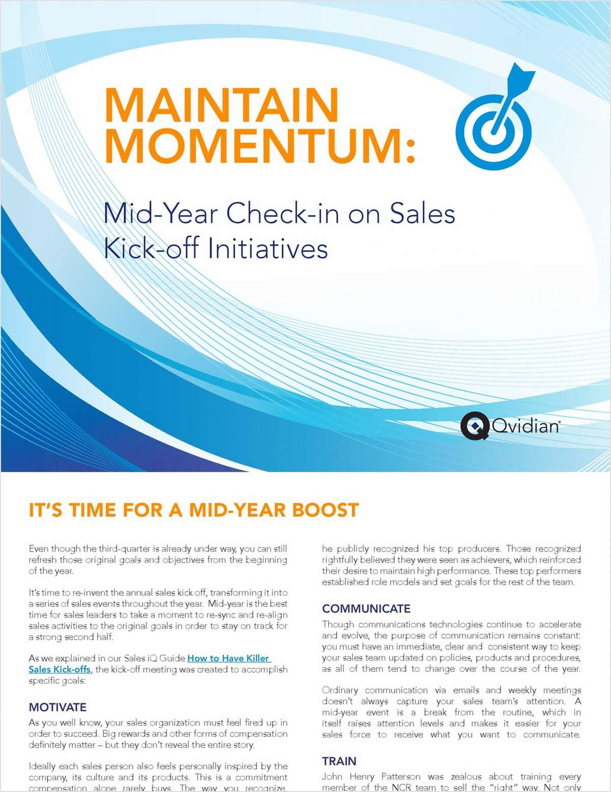 Maintain Momentum: Mid-Year Check-in on Sales Kick-off Initiatives
