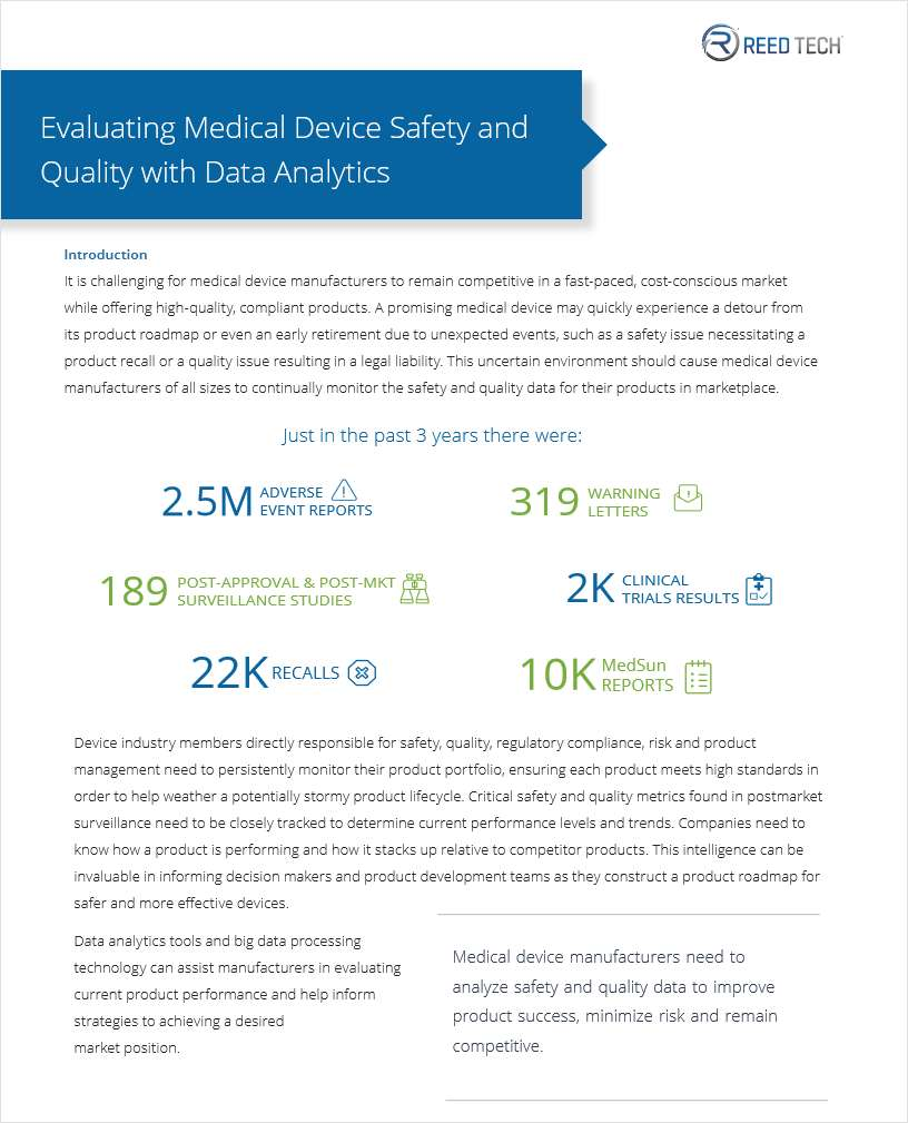 Evaluating Medical Device Safety and Quality with Data Analytics