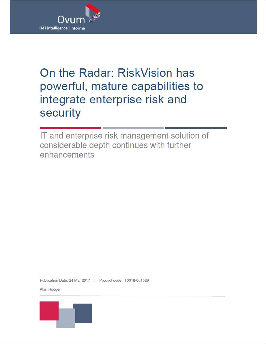 OVUM on RiskVision - Integrating Enterprise Risk and Security