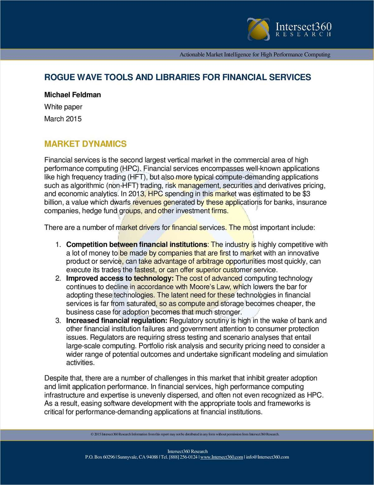 Rogue Wave tools and libraries for financial services