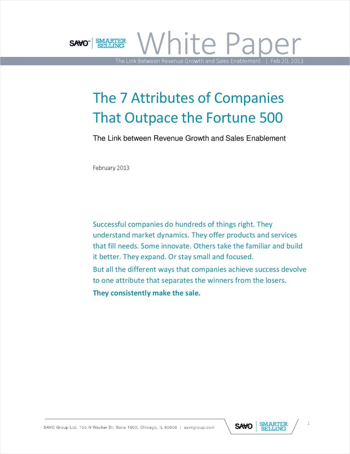 Smarter@Sales: The 7 Attributes of Companies That Outpace the Fortune 500