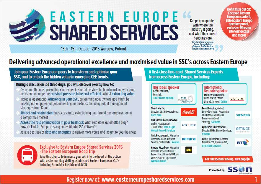 How to Improve an Eastern Europe Shared Services Centre