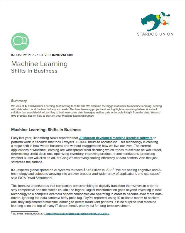 Machine Learning: Shifts in Business
