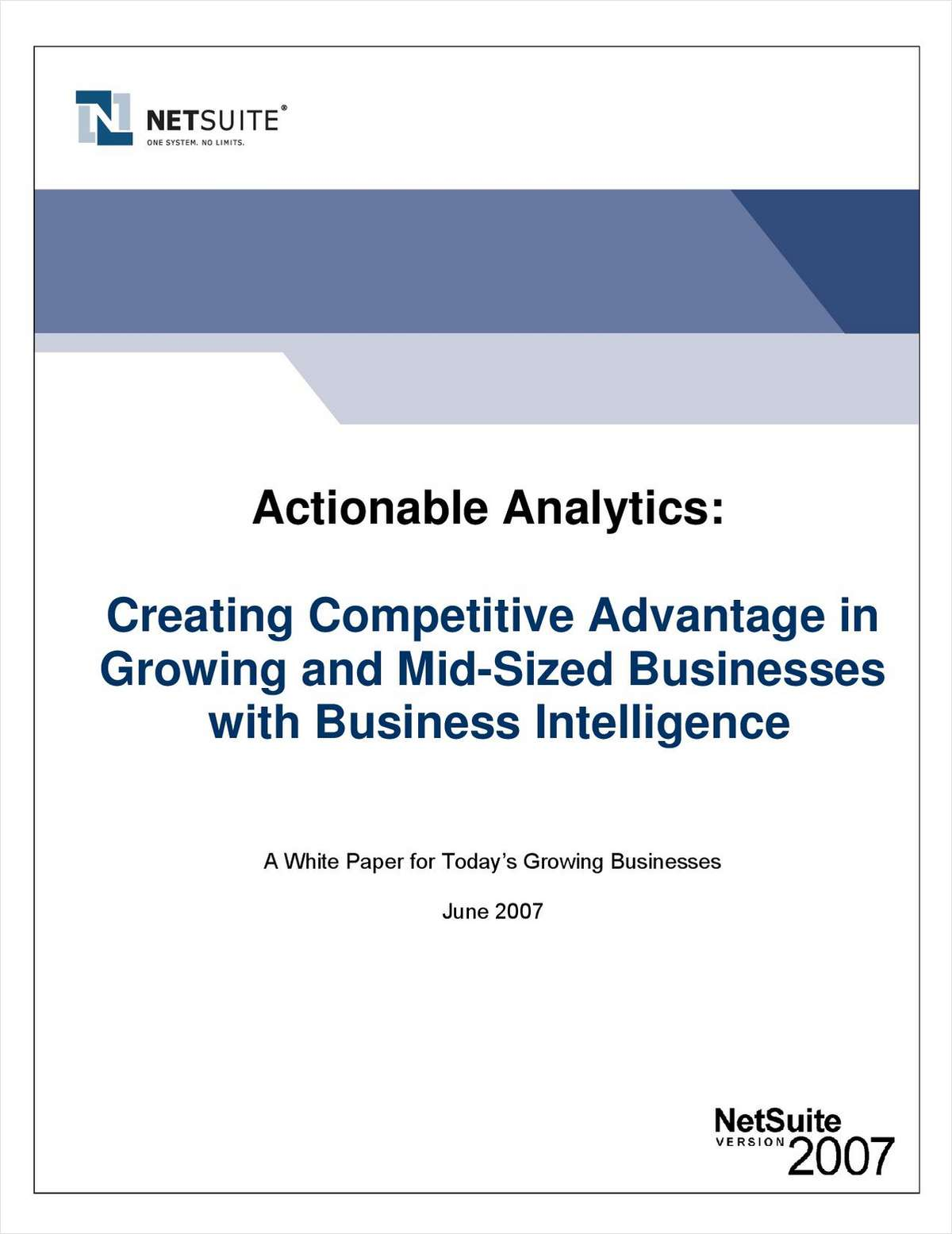 Creating Competitive Advantage in Growing and Mid-Sized Businesses with Business Intelligence