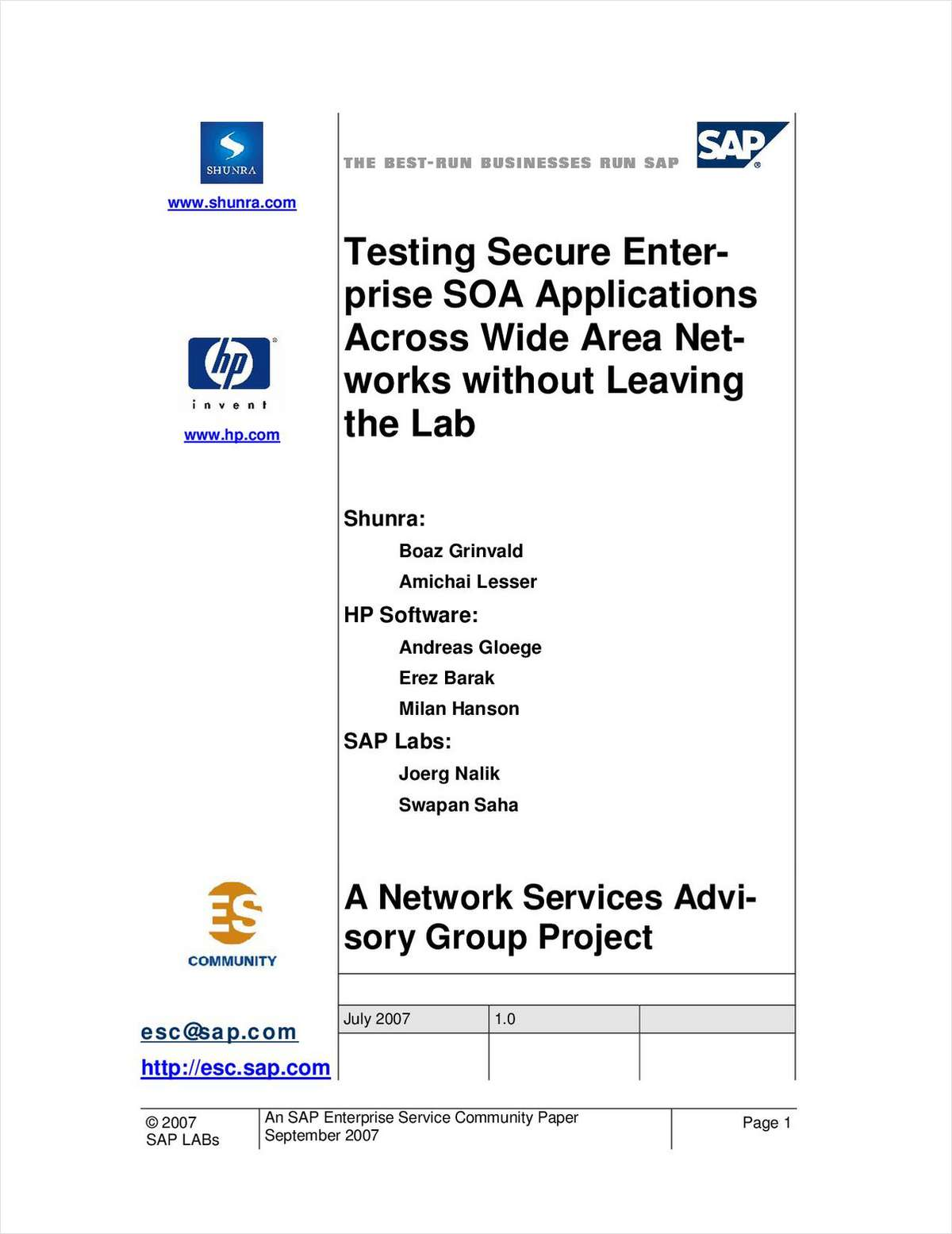 Testing Secure Enterprise SOA Applications Across Wide Area Networks without Leaving the Lab