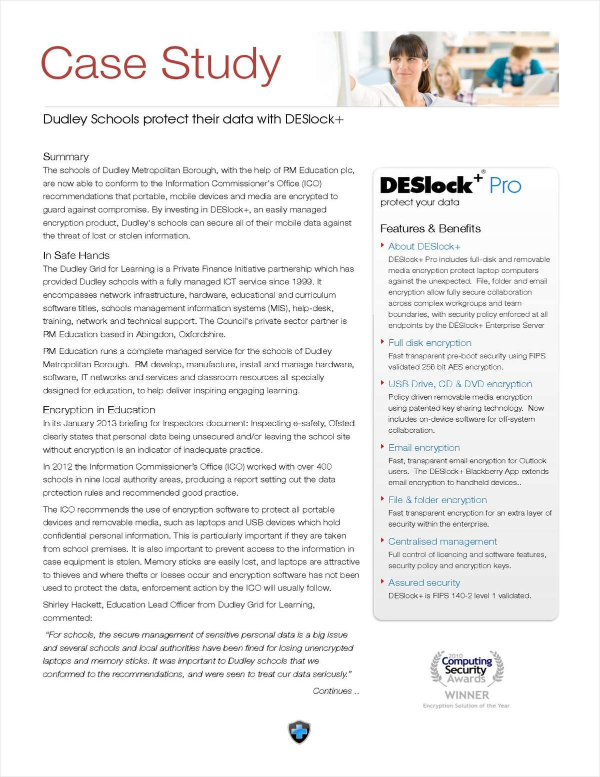 Dudley Schools protect their data with DESlock+