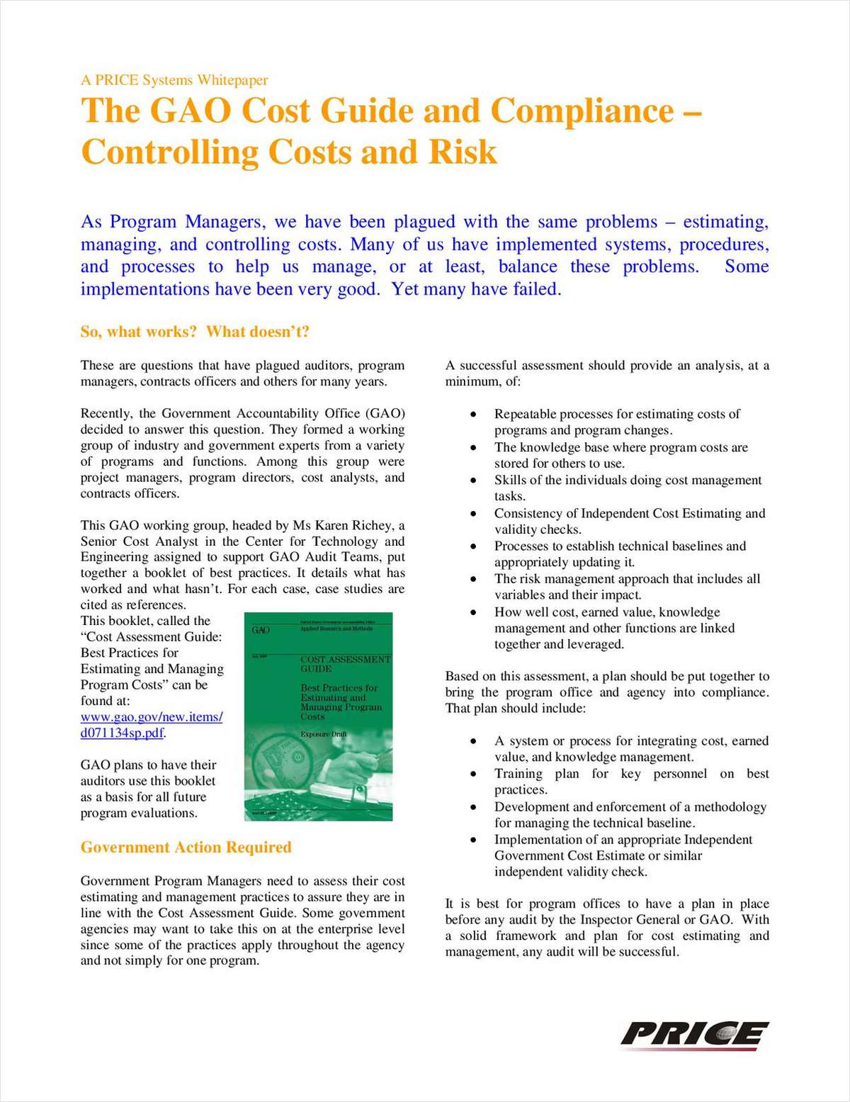 The GAO Cost Guide and Compliance – Controlling Costs and Risk