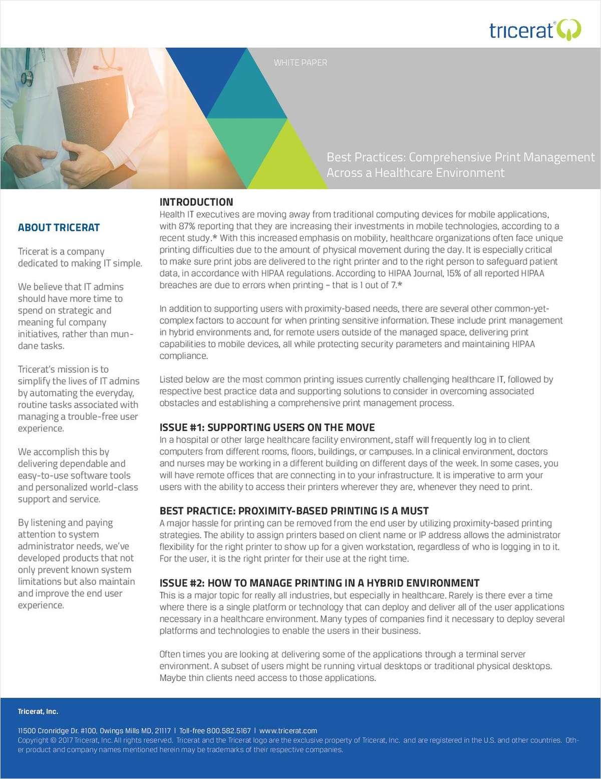 Best Practices: Comprehensive Print Management Across a Healthcare Environment
