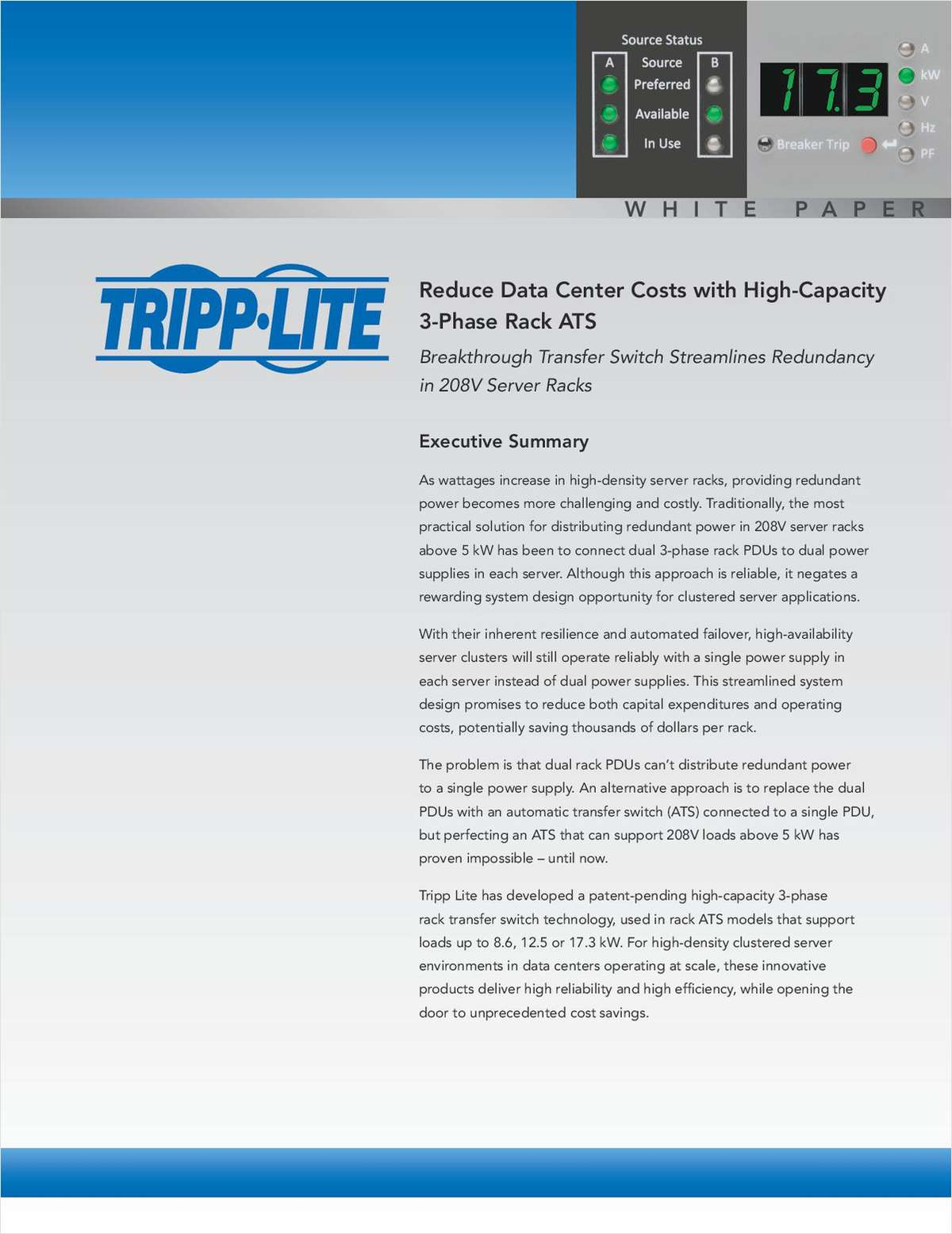 Reduce Data Center Costs with High-Capacity 3-Phase Rack ATS