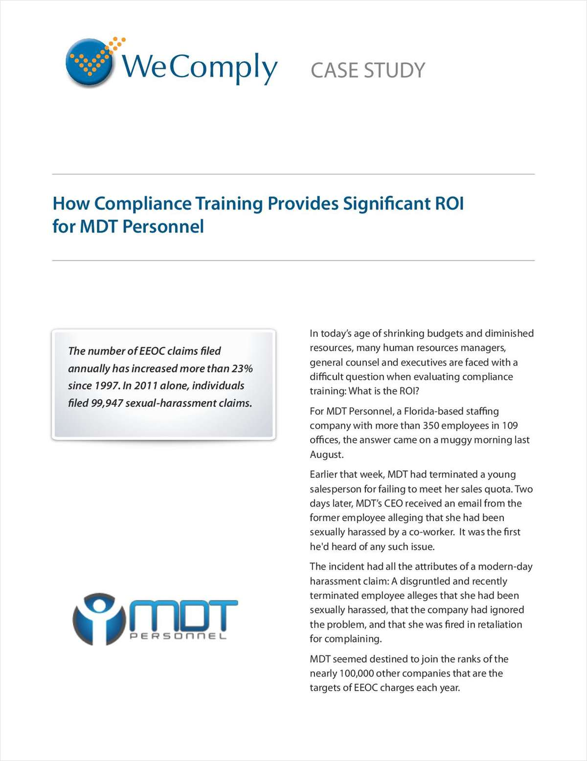 Receive your complimentary Compliance Training ROI case study today!