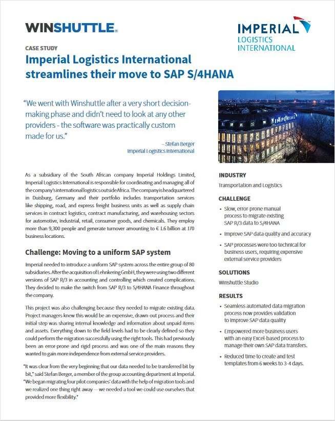 Imperial Logistics International  streamlines their move to SAP S/4HANA