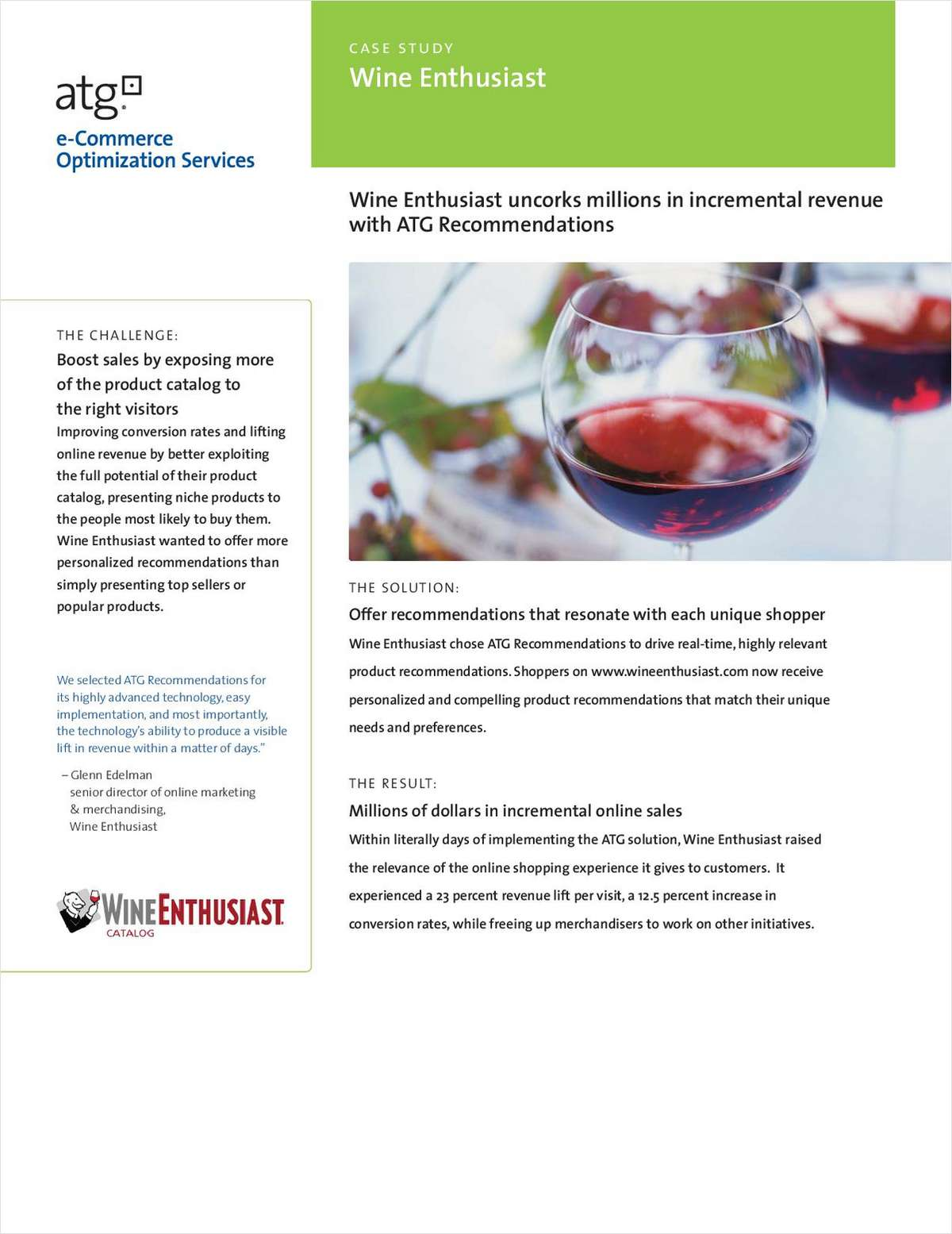 Case Study: Wine Enthusiast uncorks millions in incremental revenue with ATG Recommendations