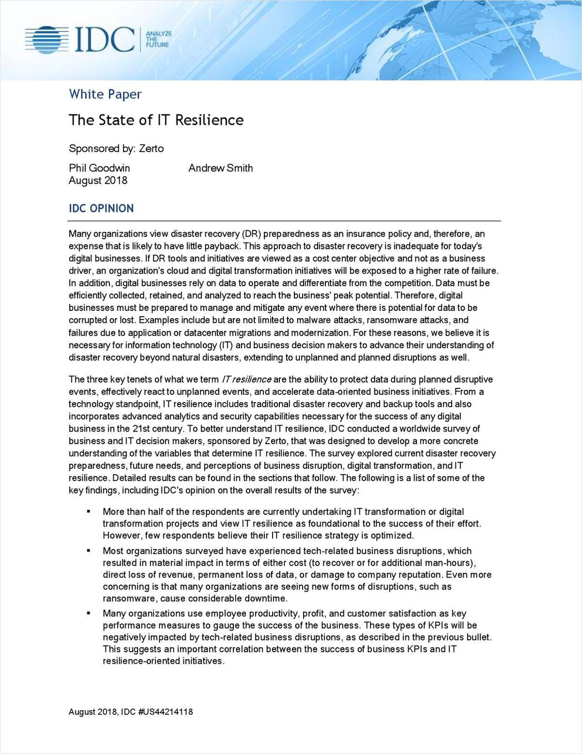IDC Report: The State of IT Resilience