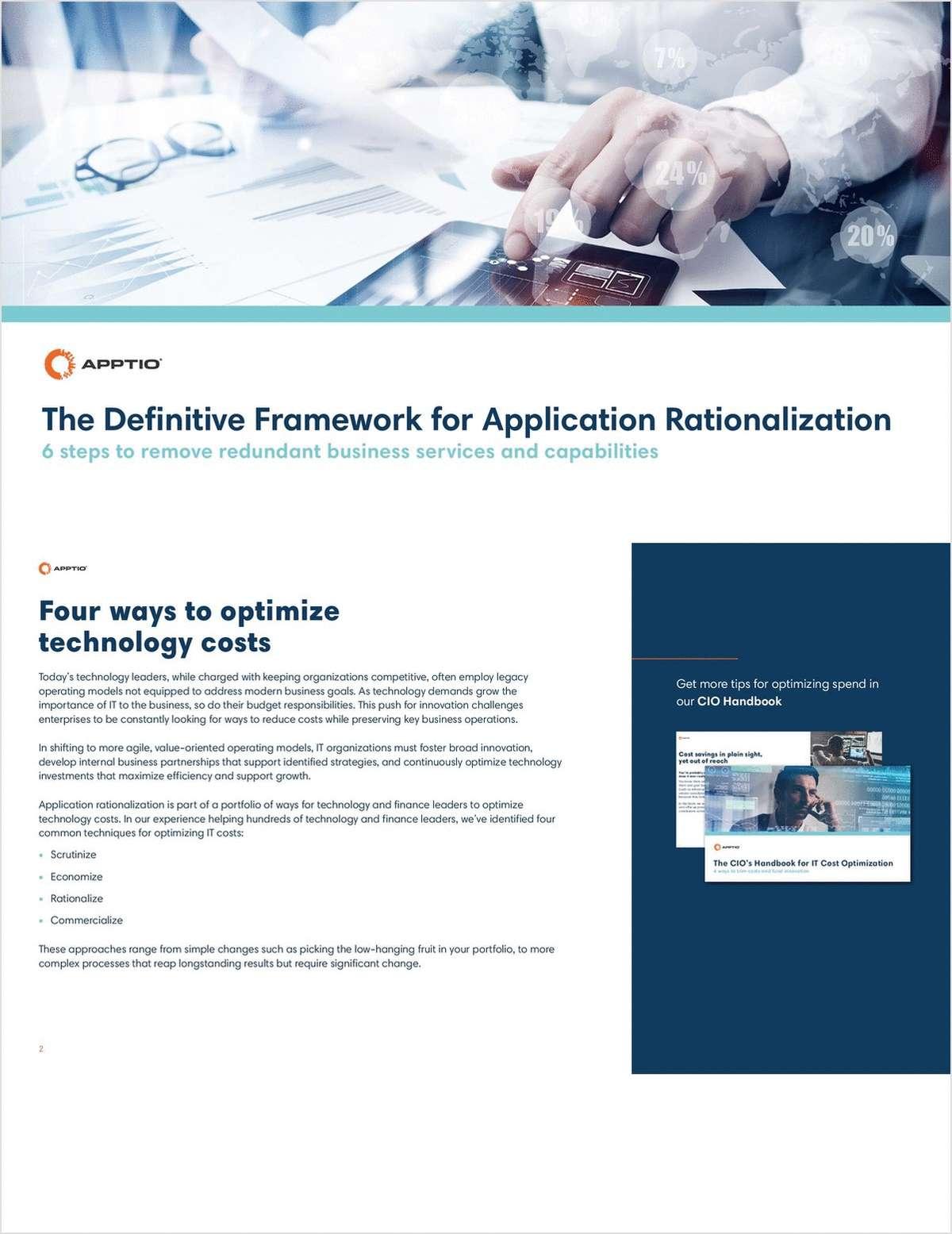 The Definitive Framework for Application Rationalization