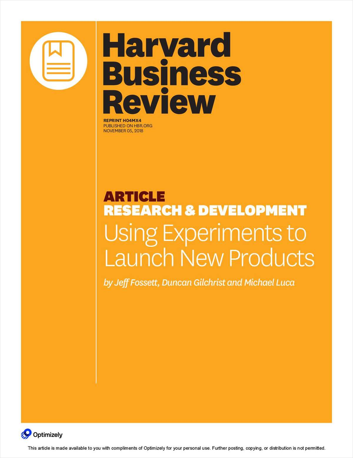 Harvard Business Review: Using Experiments to launch New Products