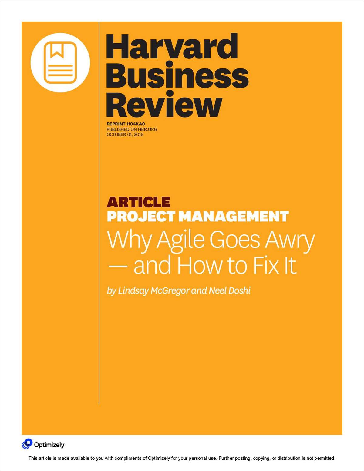 Harvard Business Review: Why Agile Goes Awry & How to Fix it