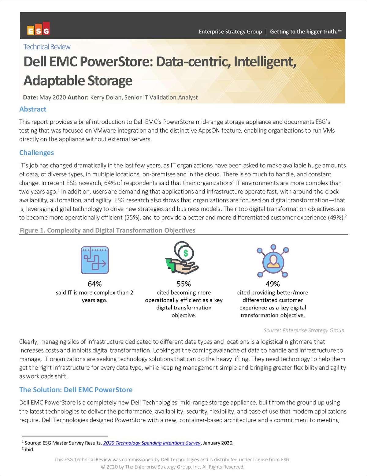 Dell EMC PowerStore: Data-centric, Intelligent, Adaptable Storage