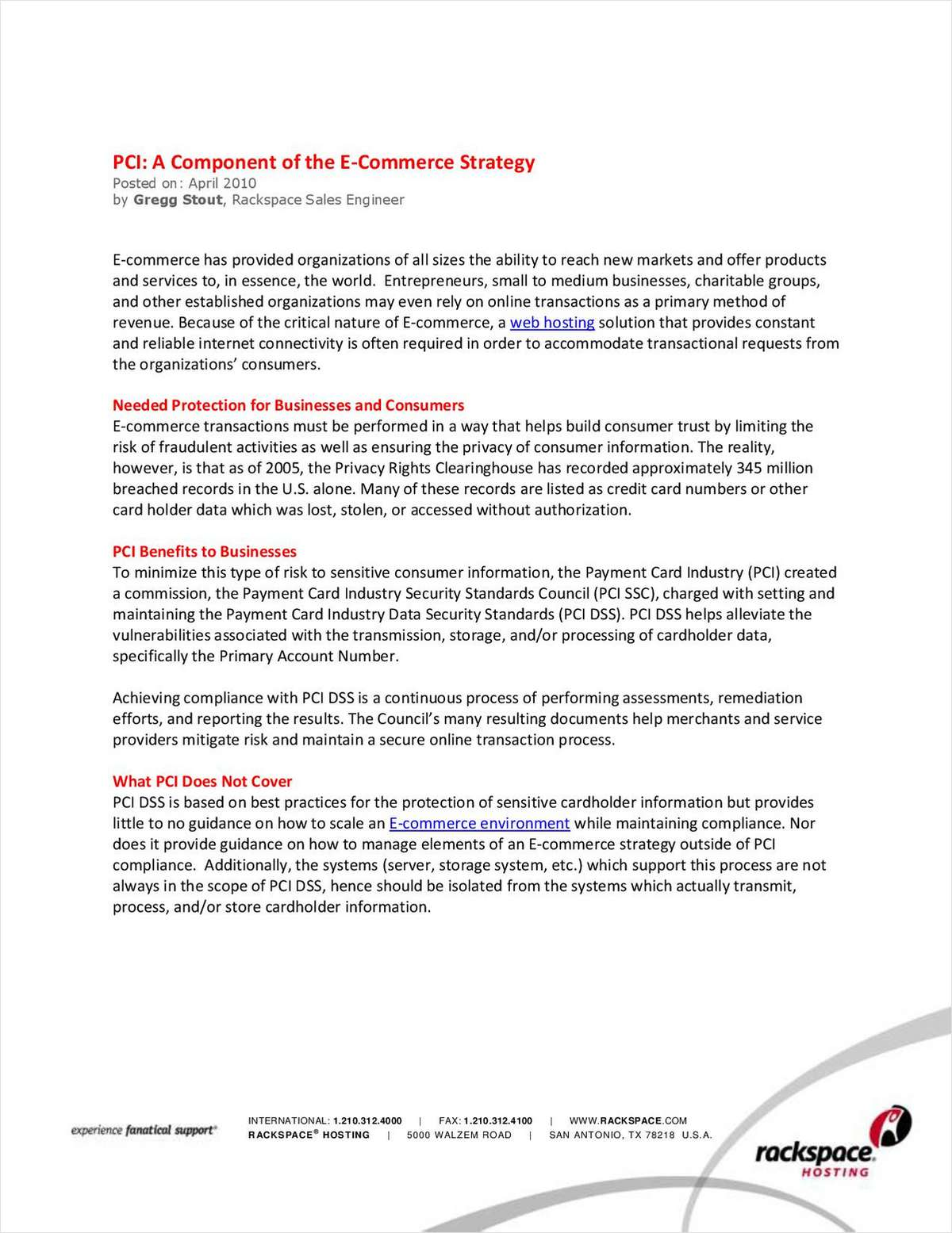 PCI: A Component of the E-Commerce Strategy