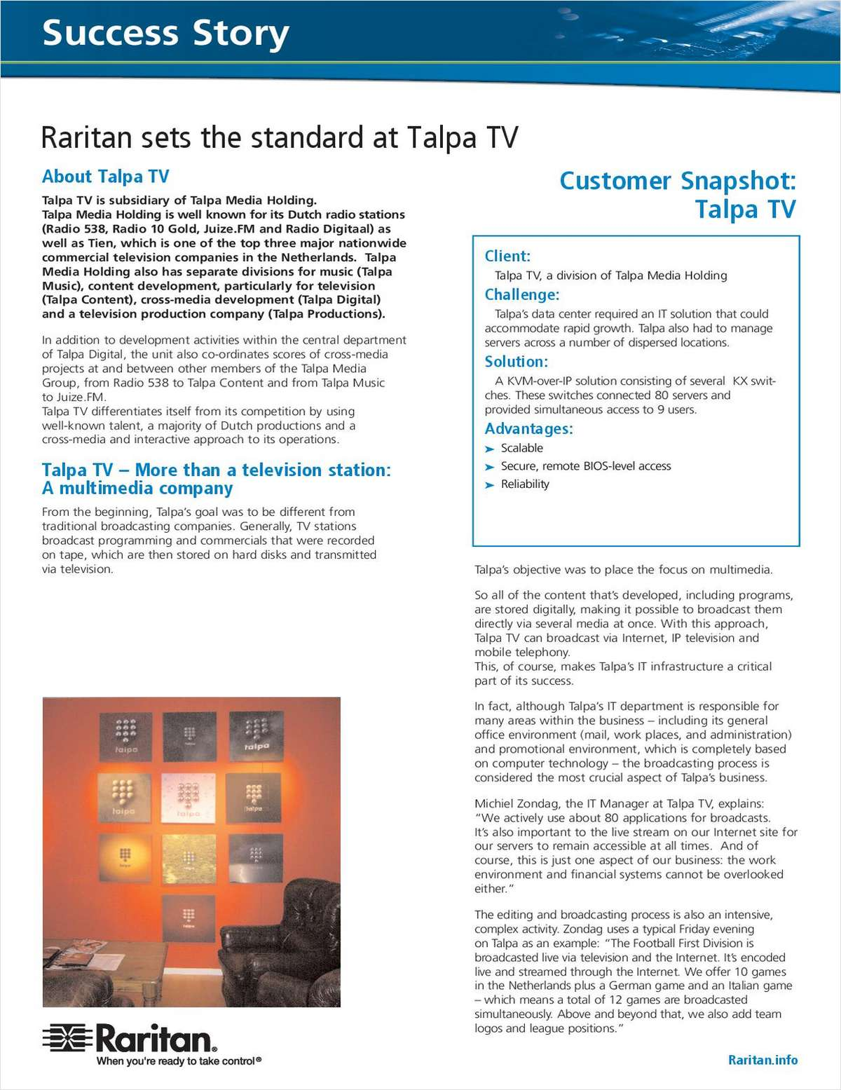 Raritan Sets the Standard at Talpa TV