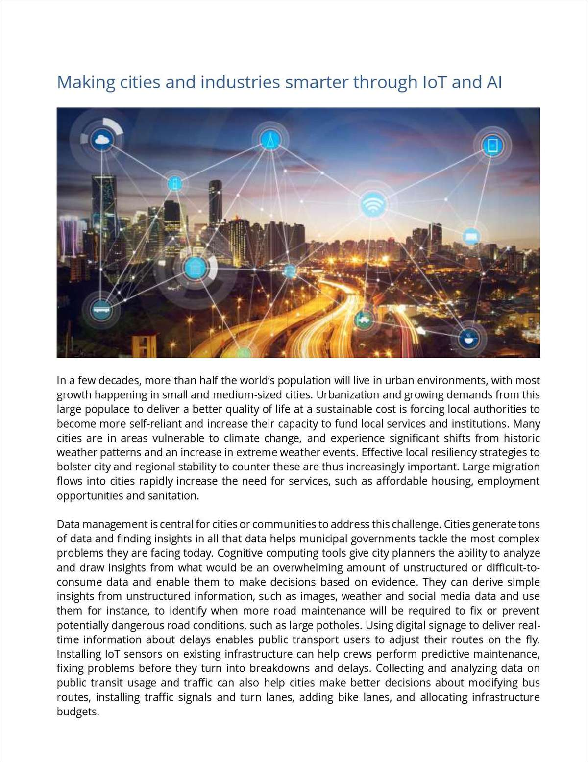 Making Cities and Industries Smarter Through IoT and AI