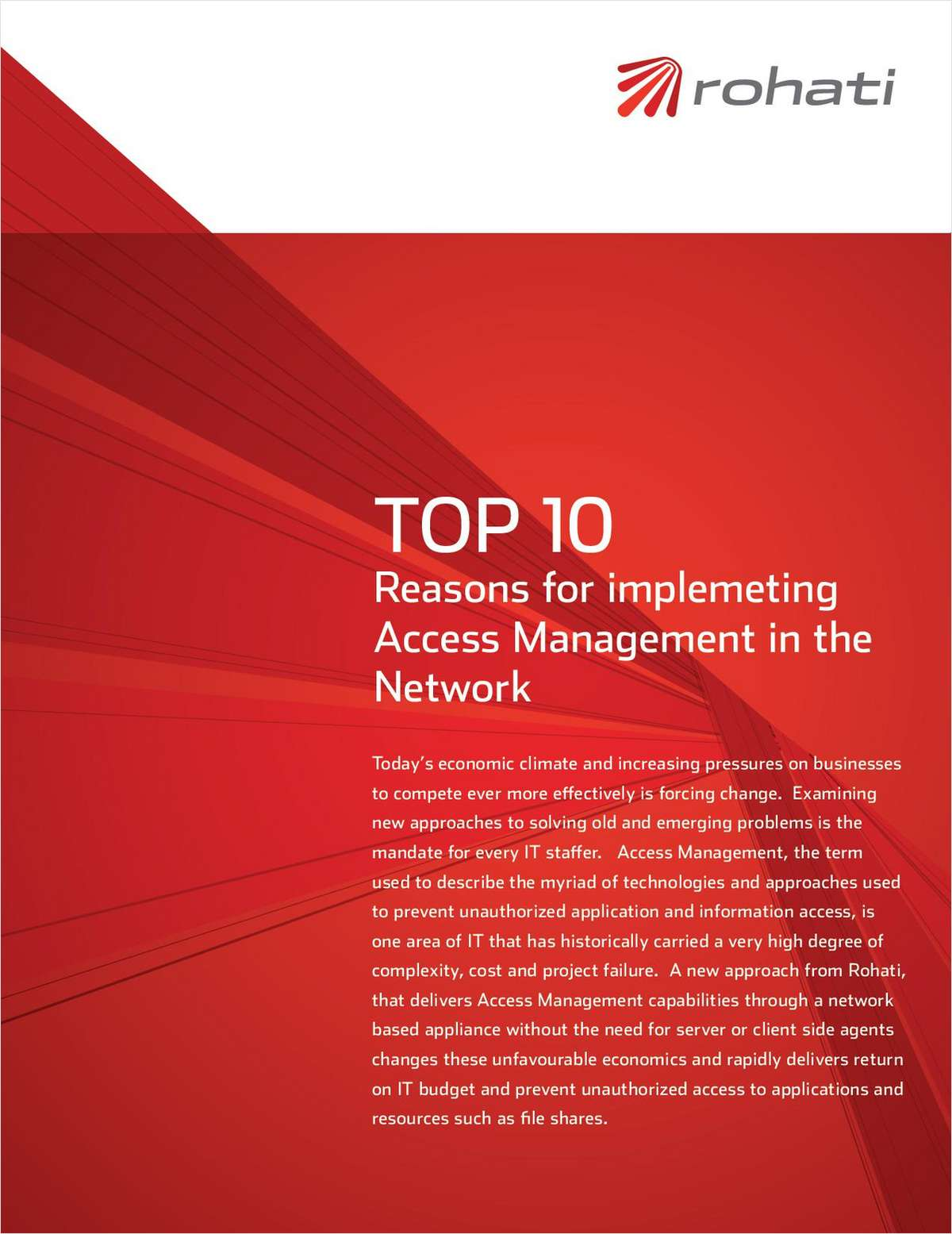 Top 10 Reasons for Implementing Access Management in the Network