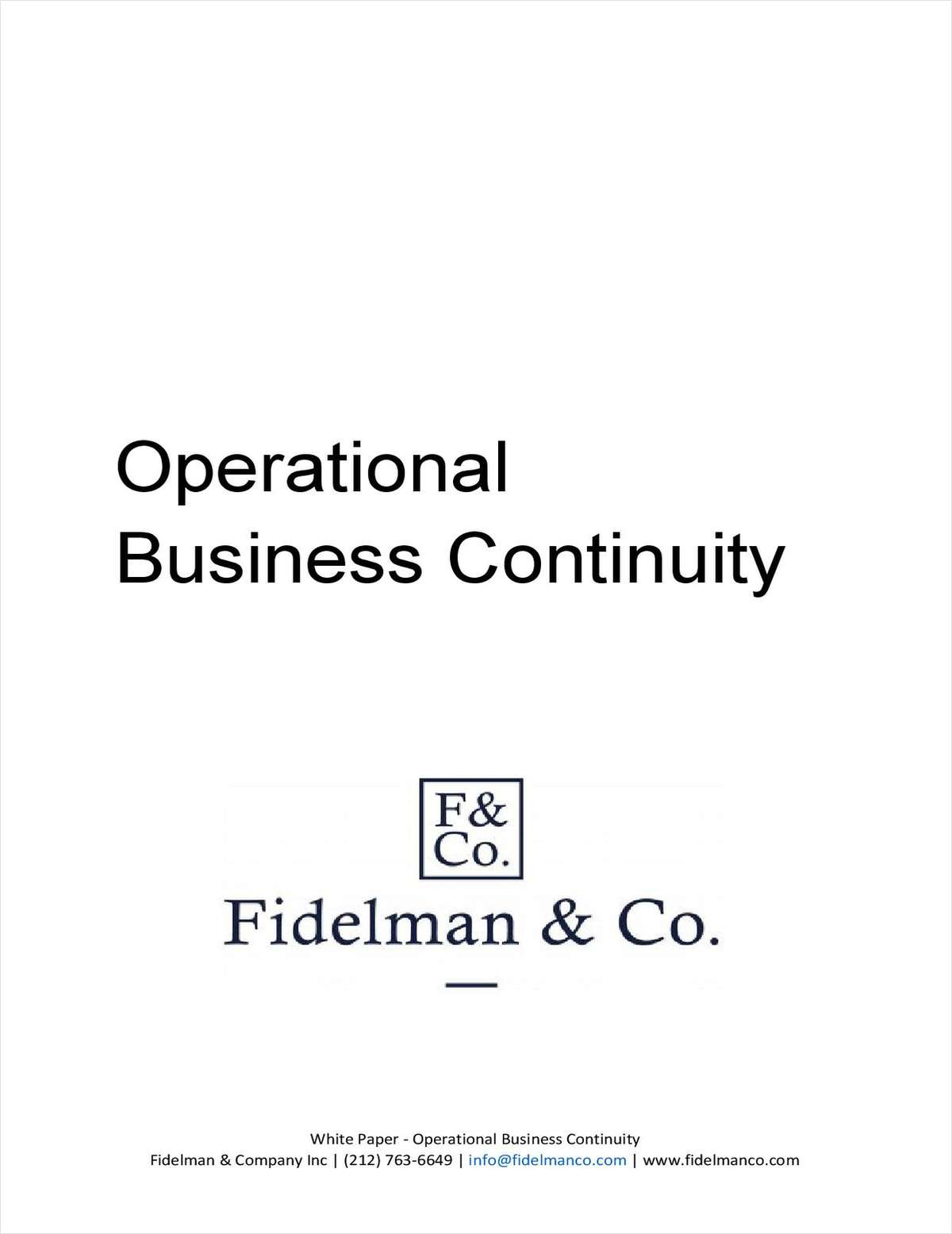 Operational Business Continuity