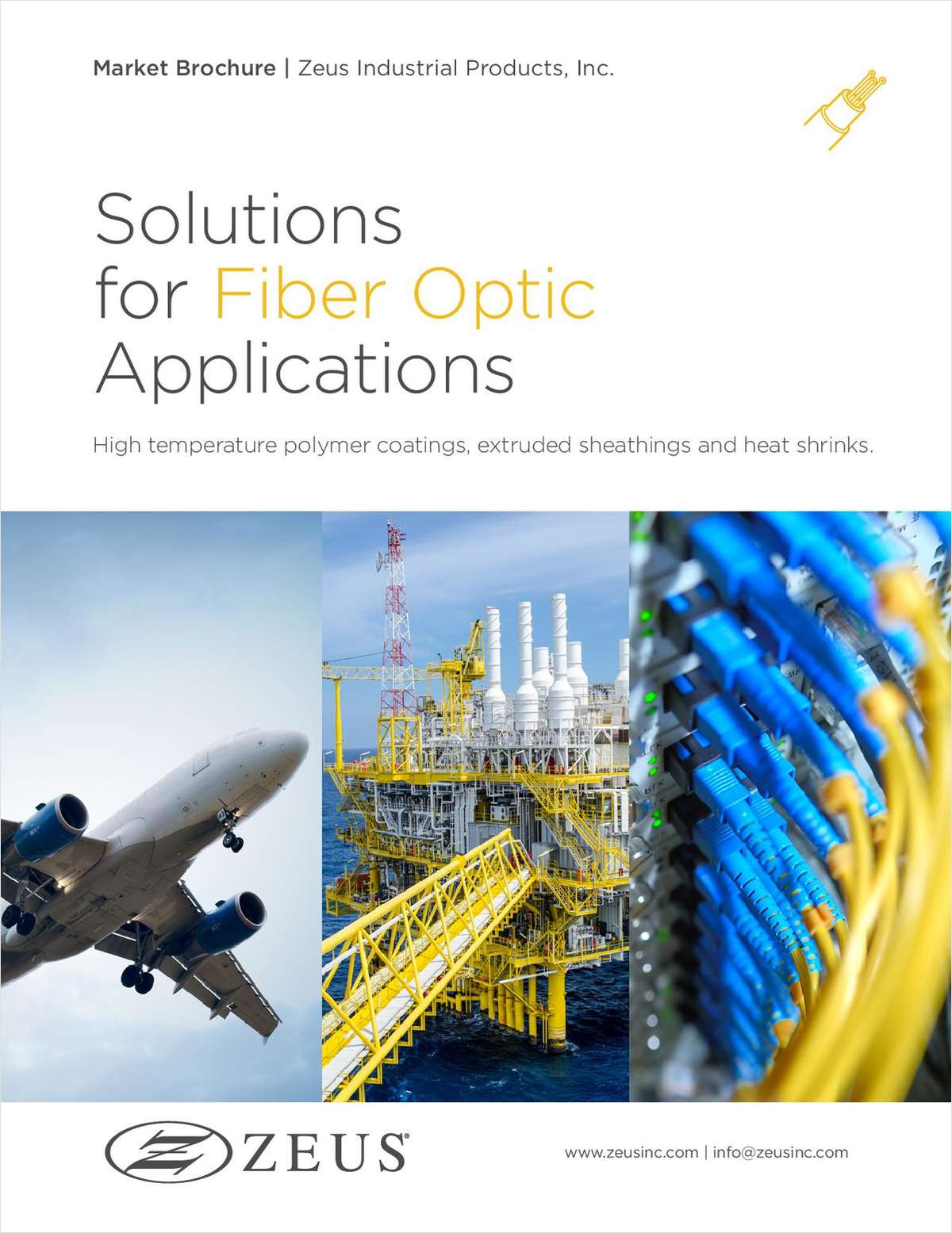 Custom solutions for Fiber Optic performance: High temperature polymer coating and sheathing products that protect and support the latest fiber optic technology.