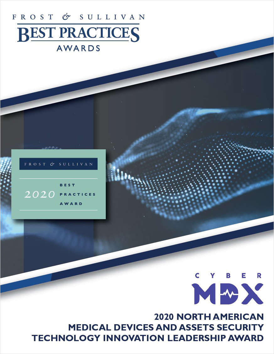Frost & Sullivan recognizes CyberMDX as the Leader in Medical Devices and Assets Security Technology Innovation