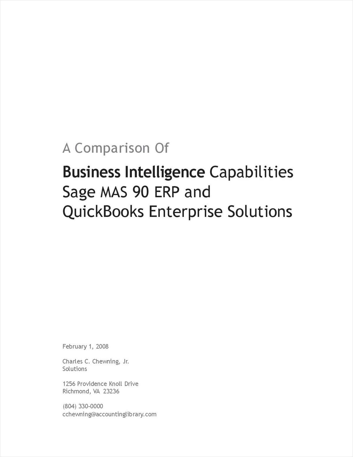 A Comparison of Business Intelligence Capabilities Sage MAS 90 ERP and QuickBooks Enterprise Solutions