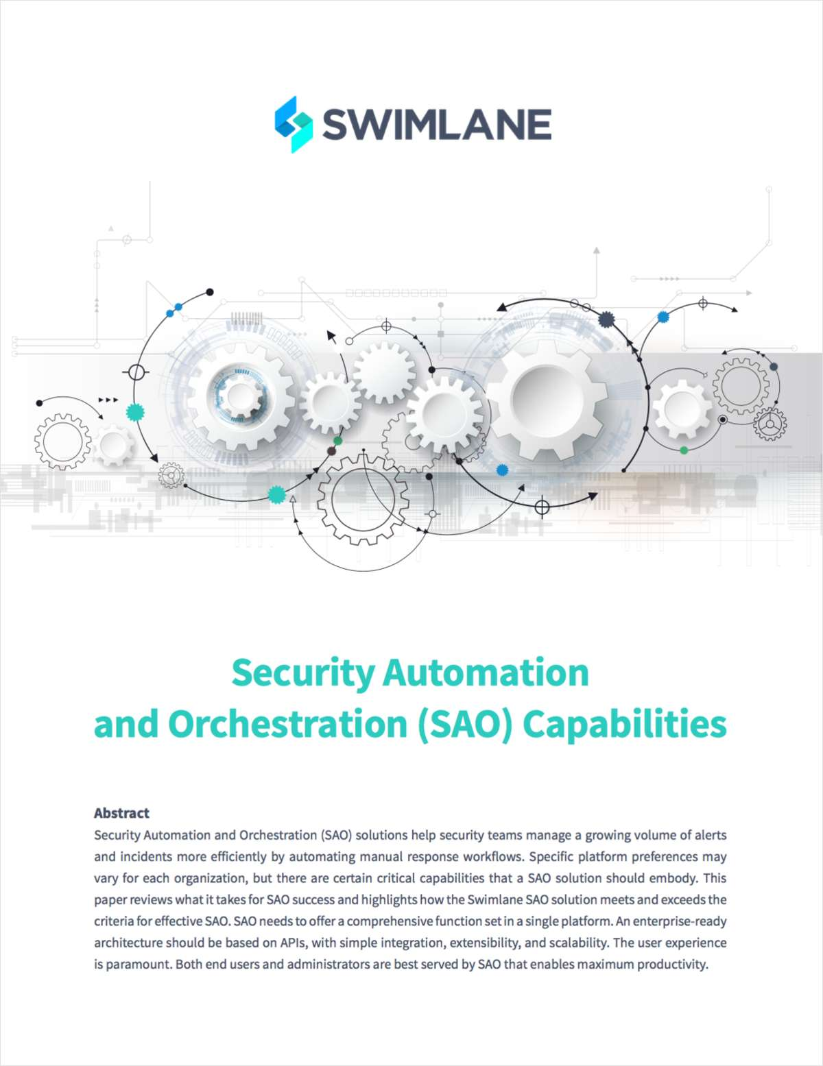 Security Automation and Orchestration (SAO) Capabilities