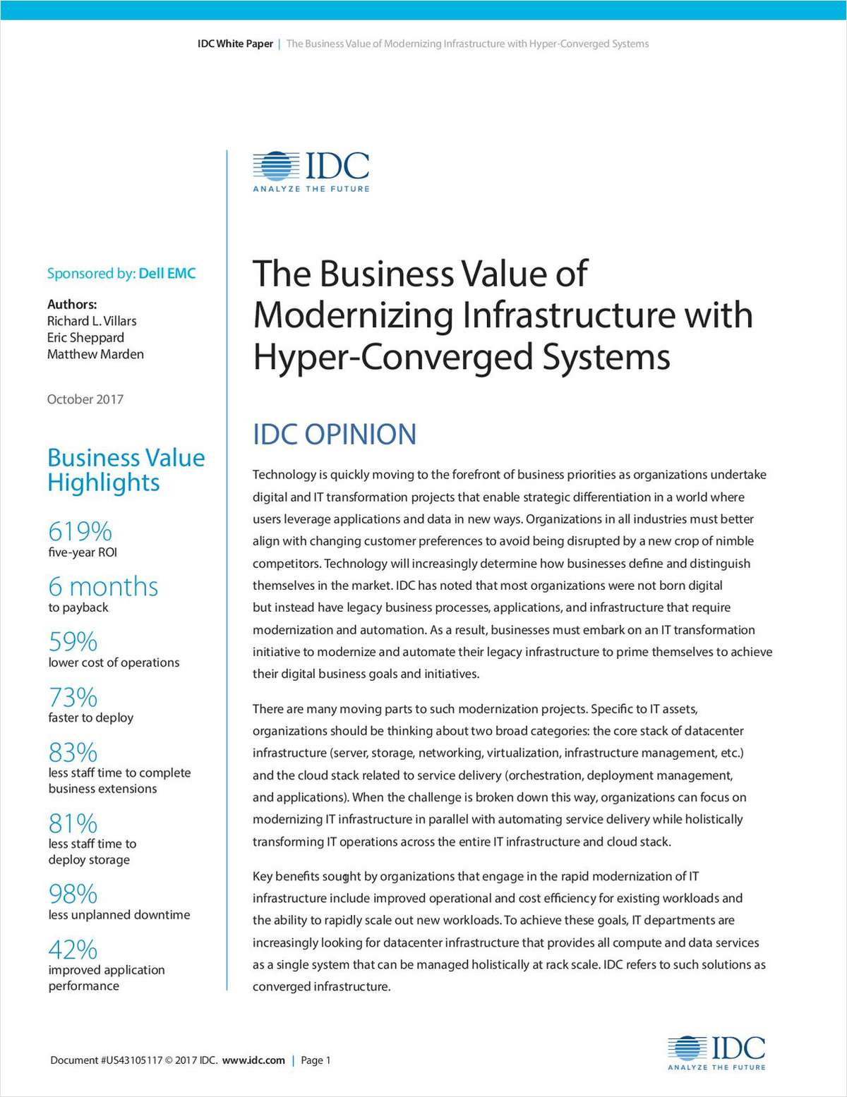 The Business Value of Modernizing Infrastructure with Hyper-Converged Systems
