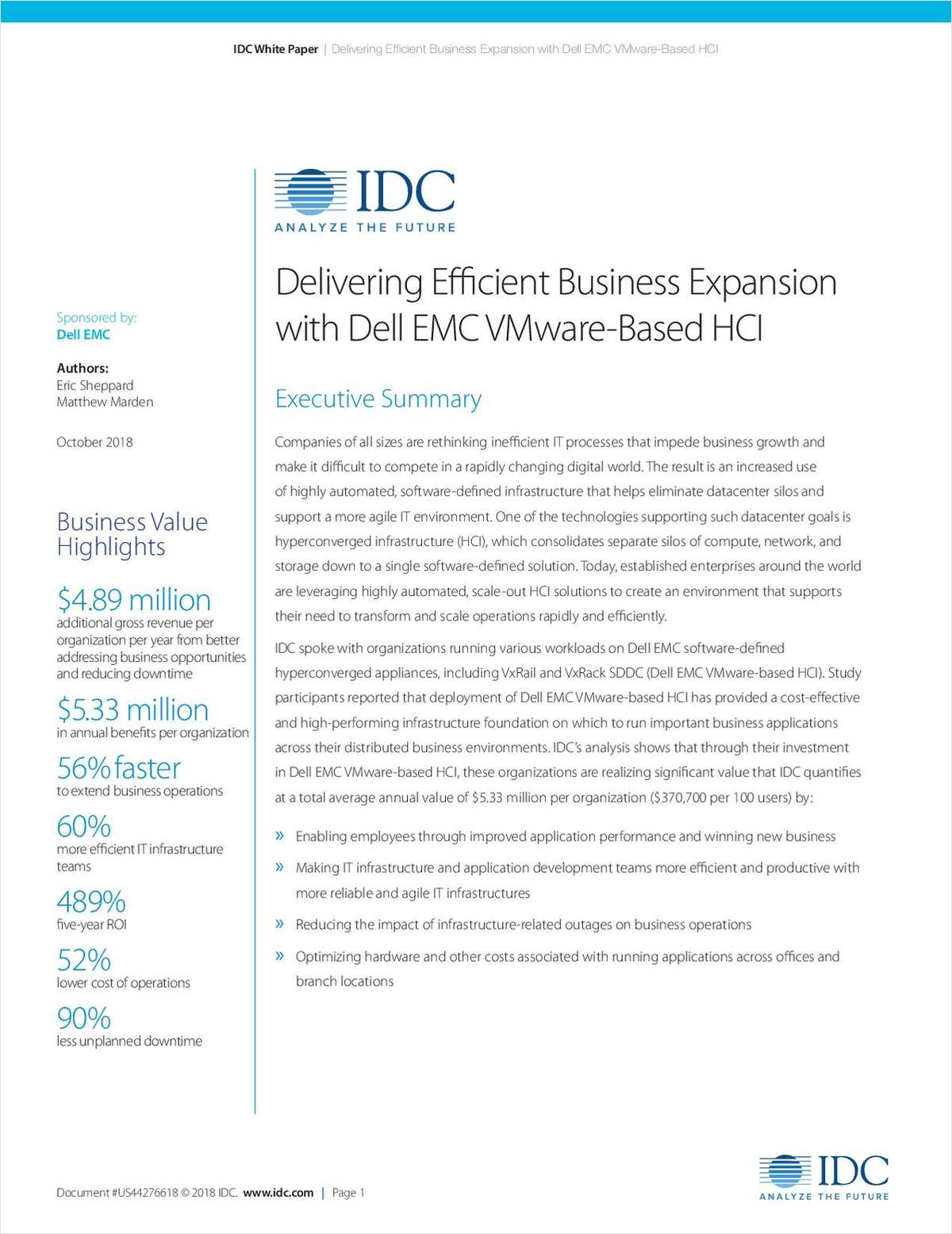Delivering Efficient Business Expansion with Dell EMC VMware-Based HCI
