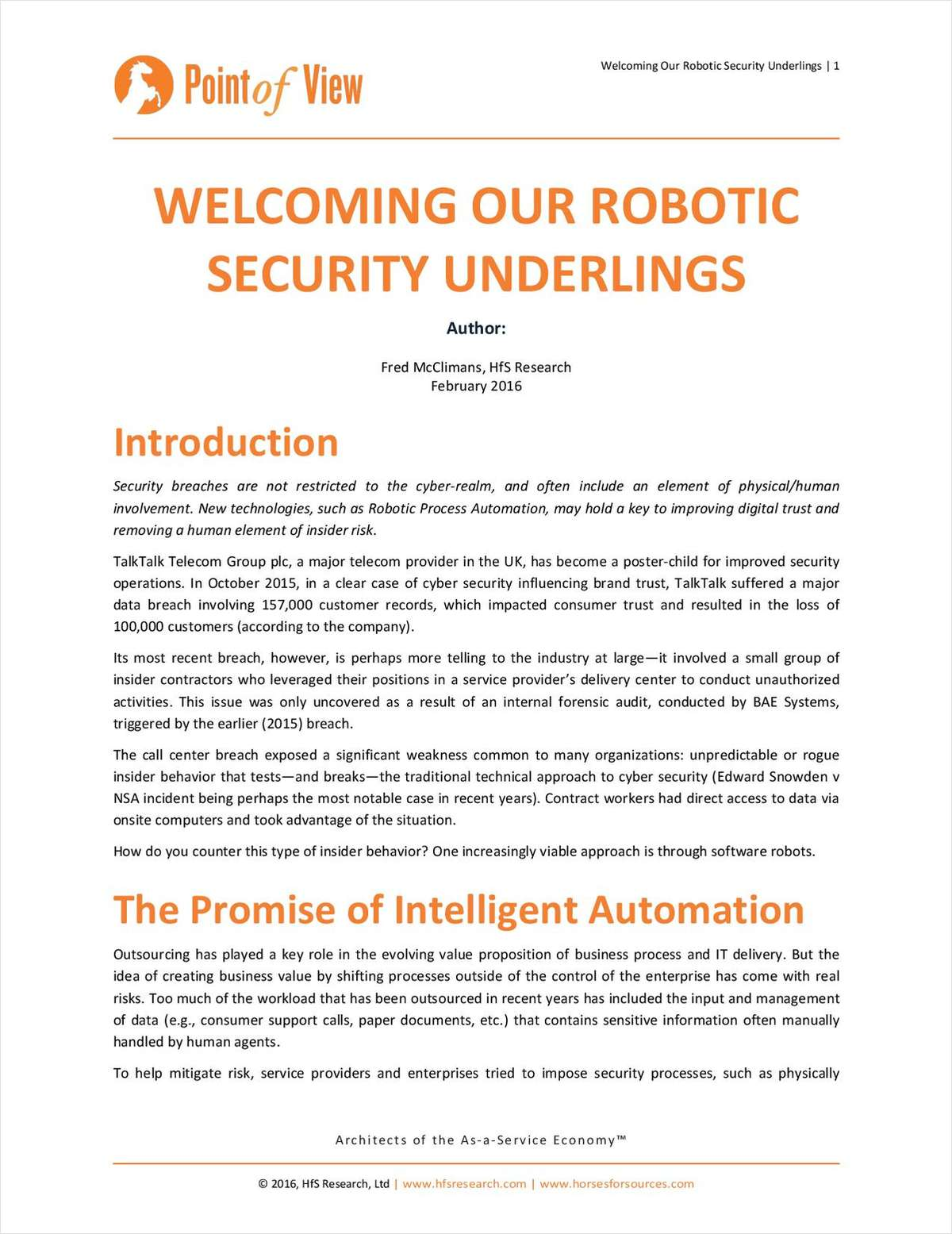 HfS Research Point of View: Welcoming our Robotic Security Underlings