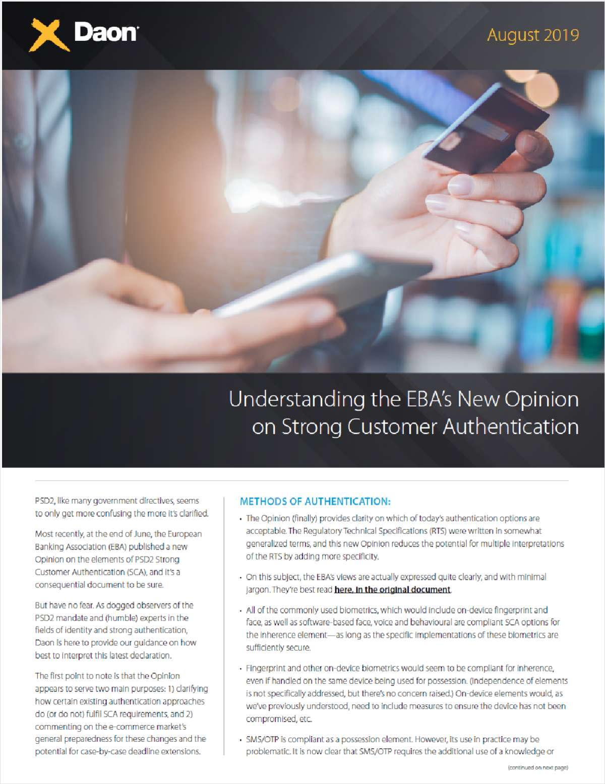 Understanding the European Banking Authority's New Opinion on PSD2 Strong Customer Authentication