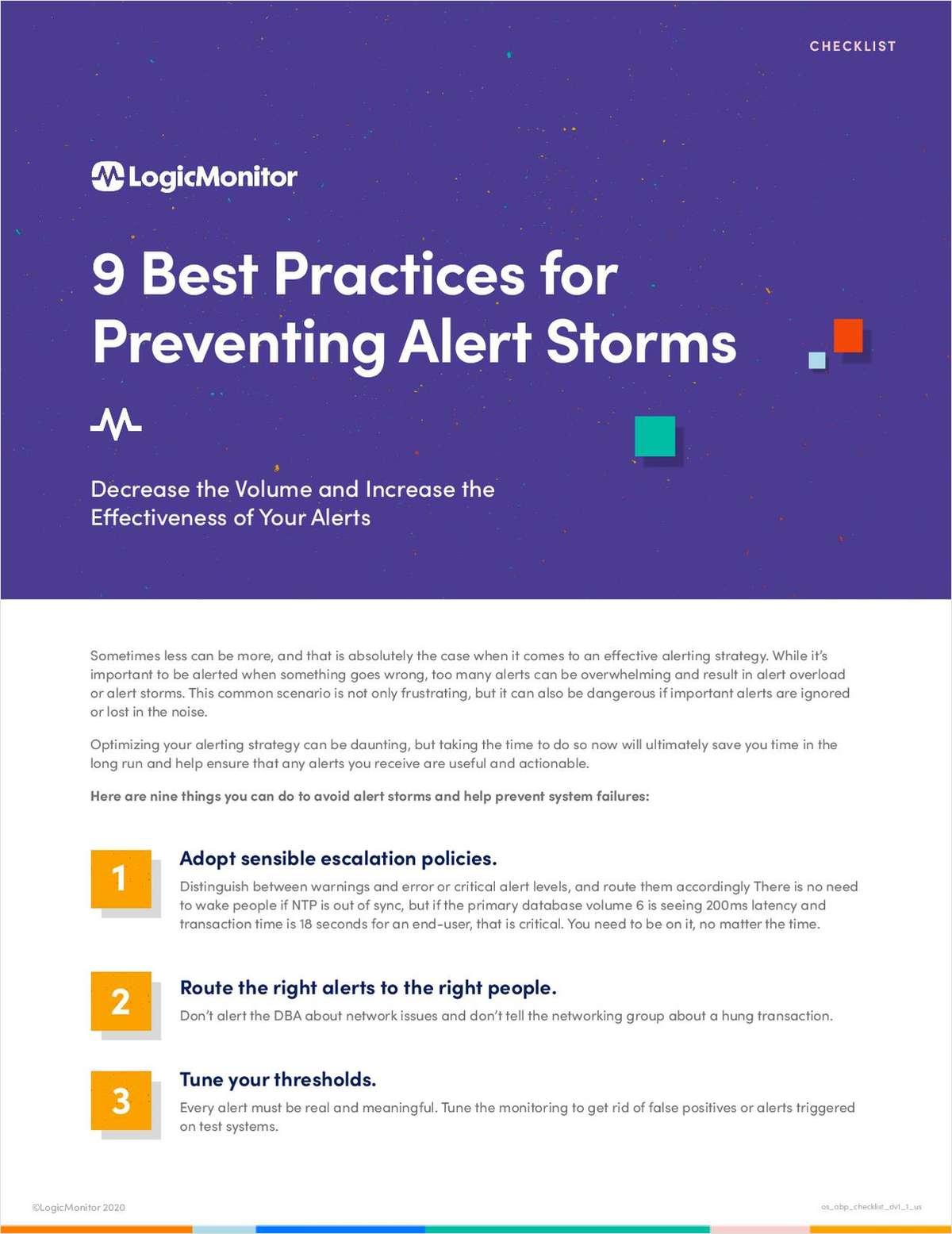 9 Best Practices for Avoiding Alert Storms