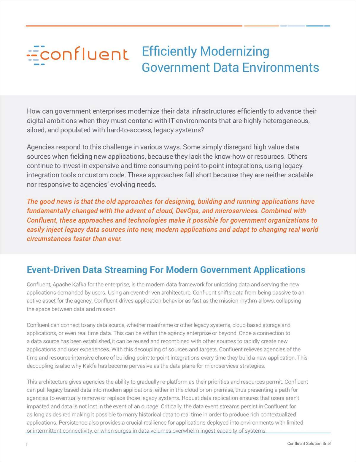Efficiently Modernizing Government Data Environments with Apache Kafka