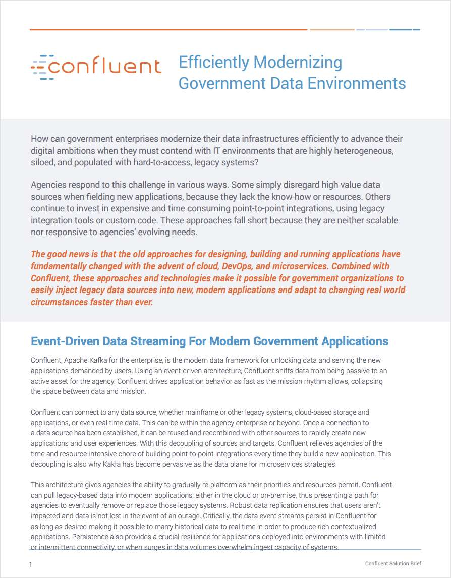 Efficiently Modernizing Government Data Environments