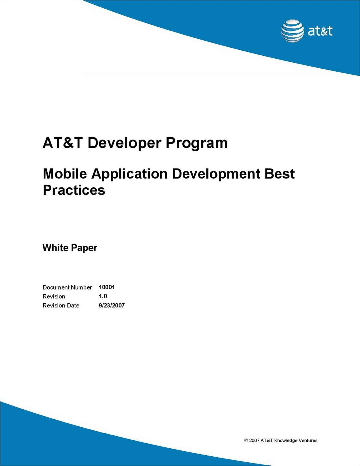 AT&T Developer Program - Mobile Application Development Best Practices