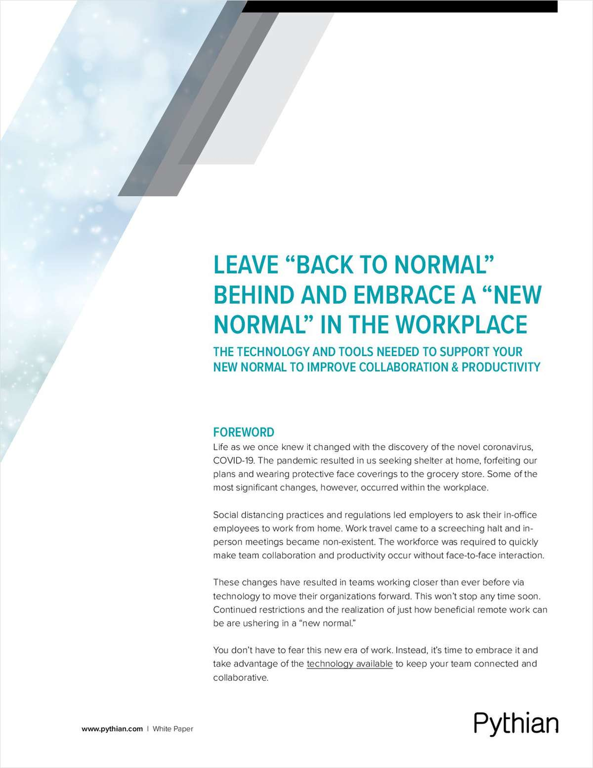 Leave  Back to Normal Behind and Embrace a  New Normal in the Workplace