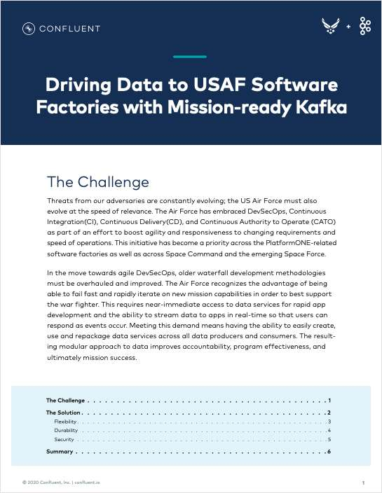 Driving Data to USAF Software Factories with Mission-ready Kafka