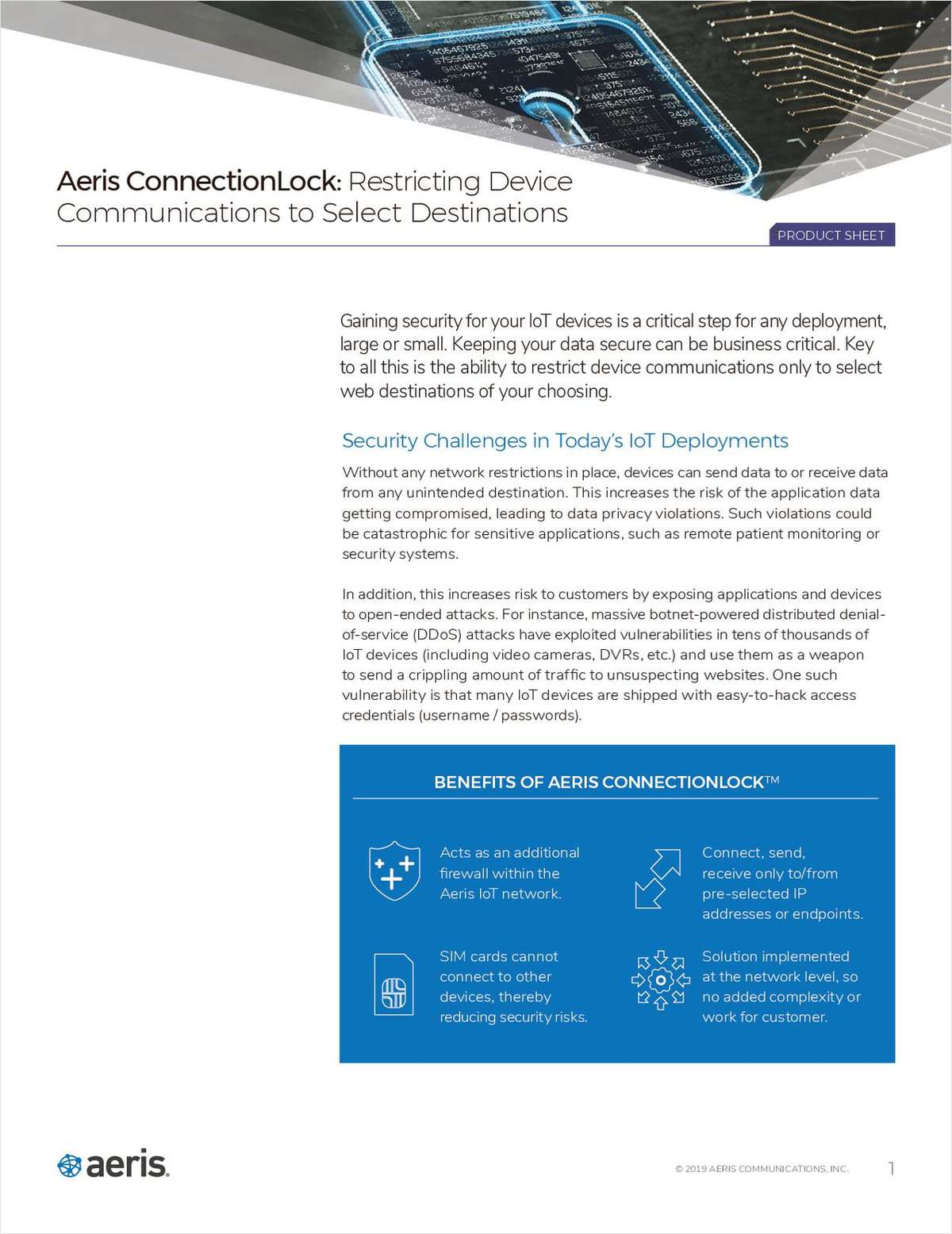 Aeris ConnectionLock: Restricting Device Communications to Select Destinations