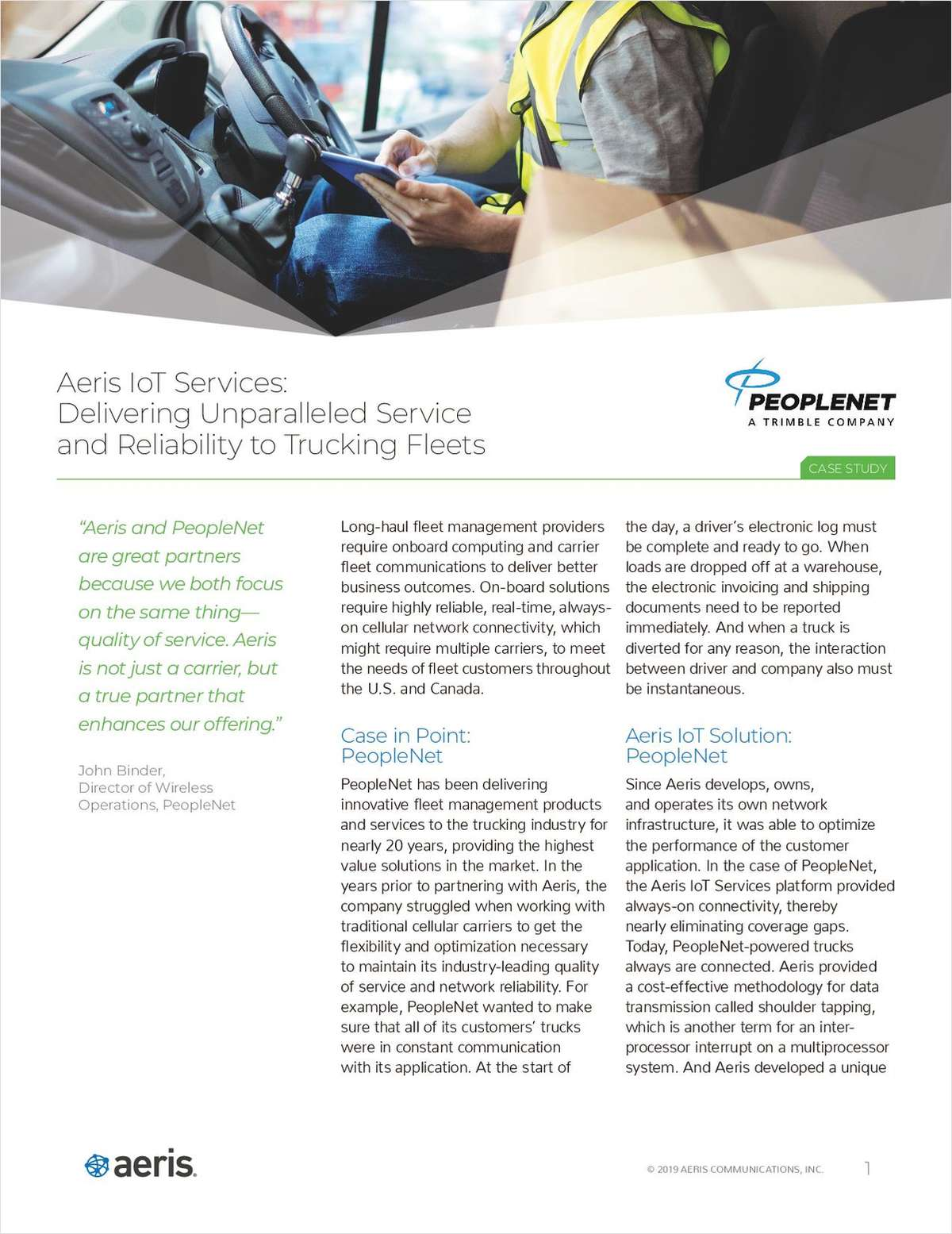 Aeris Delivering Unparalleled Service and Reliability to Trucking Fleets