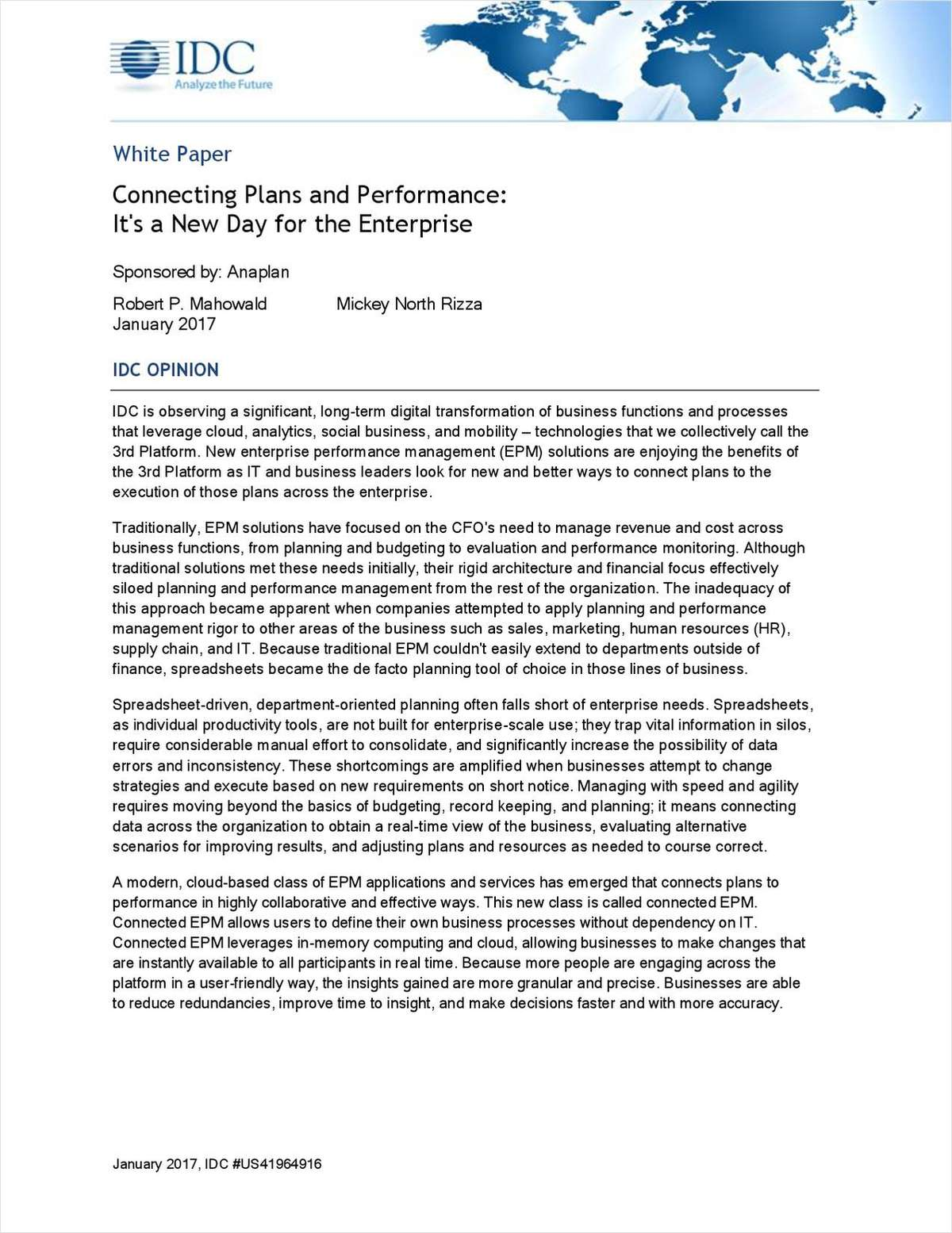 Connecting Plans and Performance:  It's a New Day for the Enterprise