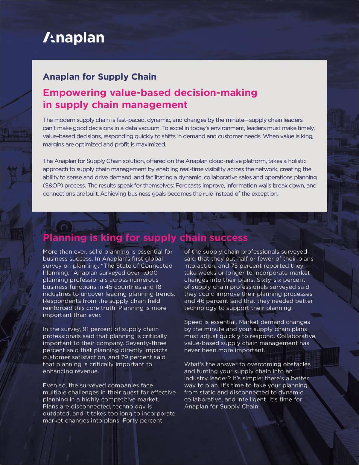 Anaplan for Supply Chain