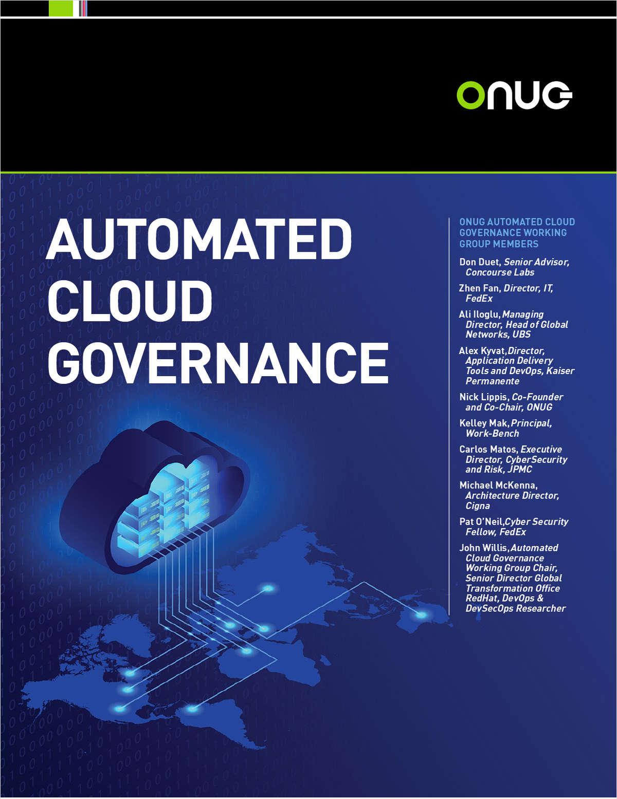 Automated Cloud Governance: The ONUG Collaborative